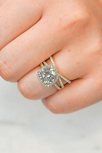round engagement rings gold twisted bands modern pave band