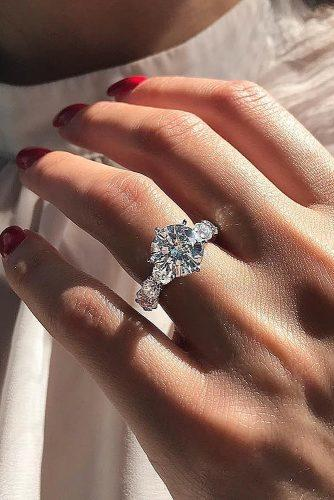 round engagement rings solitaire diamond pave band modern