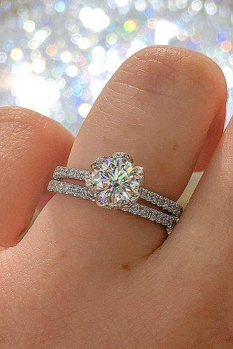 round engagement rings solitaire wedding set pave band