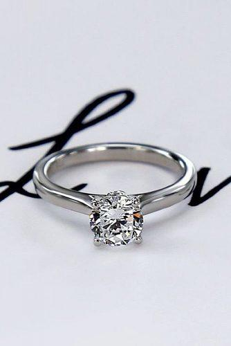 round engagement ring simple white gold round cut diamond