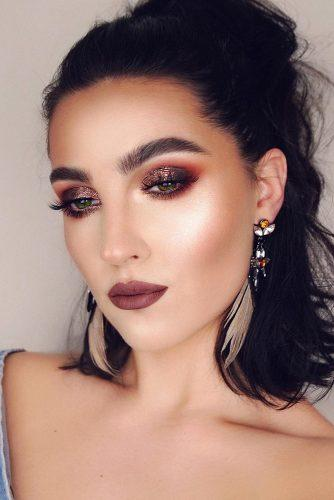 fall wedding makeup burgundy glitter eyes with long lashes and vamp matte lips yourstylishself