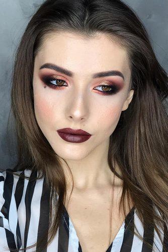 fall wedding makeup burgundy lips and gold eyeshadows julia_voron
