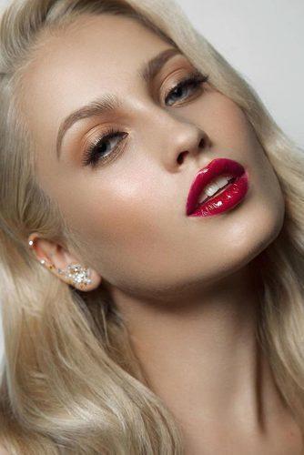 fall wedding makeup gloss red cherry lips soft orange eyeshadows long lashes muaclub
