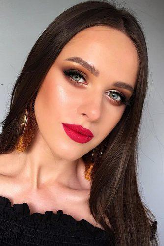 fall wedding makeup red cherry lips shimmer eyeshadows tominamakeup