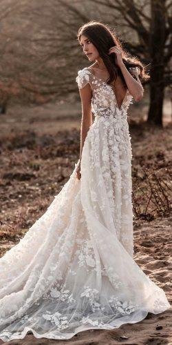 a line wedding dresses with cap sleeves deep v neckline with 3d floral berta