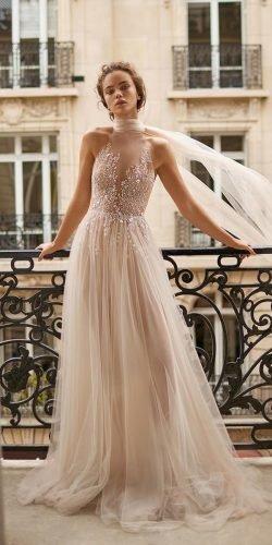 a line wedding dresses nude illusion high neck for beach sequins lizmartinez
