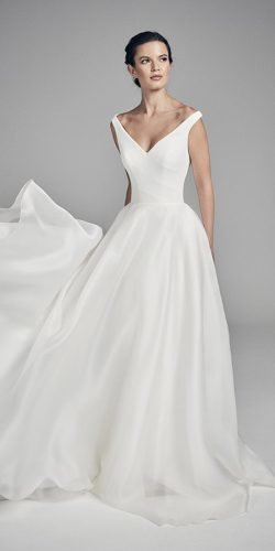 a line wedding dresses simple v neckline sleveless suzanneneville