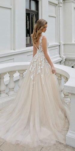 a line wedding dresses v neckline with floral appliques romantic enzoani