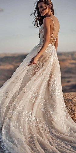 a line wedding dresses with spaghetti straps low back delicate lace galia lahav