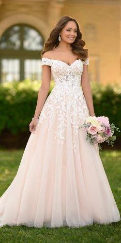 a line wedding dresses sweetheart strapless neckline off the shoulder floral stella york