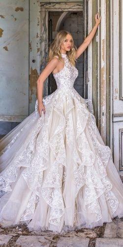 wona váy cưới bóng áo choàng dây cổ ren anita 2020