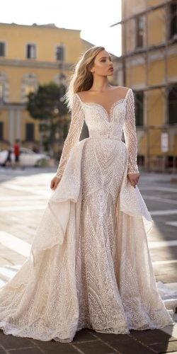 wona váy cưới sheath sheath với tay áo dài cổ tim yêu với donna váy overskirt Ảnh váy cưới lấp lánh