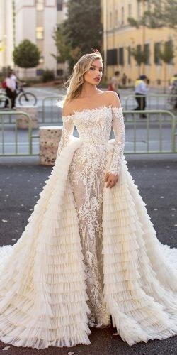 váy cưới wona có vỏ bọc với tay áo trễ vai với váy ngoại cỡ helena Ảnh váy cưới lấp lánh