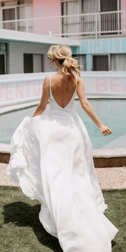 a line wedding dresses simple low back with straps made with love