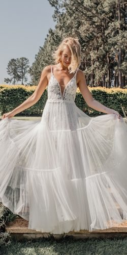 a line wedding dresses with spaghetti straps lace plunging neckline made with love
