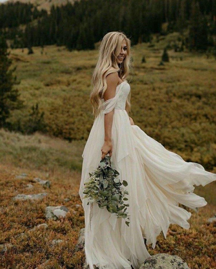 váy cưới lệch vai người yêu đơn giản đường viền cổ áo bohemian sarah bảy