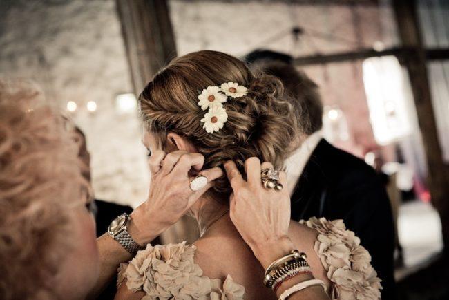 bridesmaid hairstyles flowers in hair up
