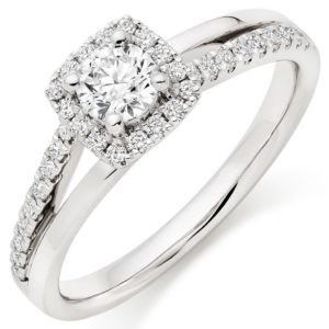 SPLIT SHANK - Platinum Diamond Halo Ring, £ 3,250 from Beaverbrooks