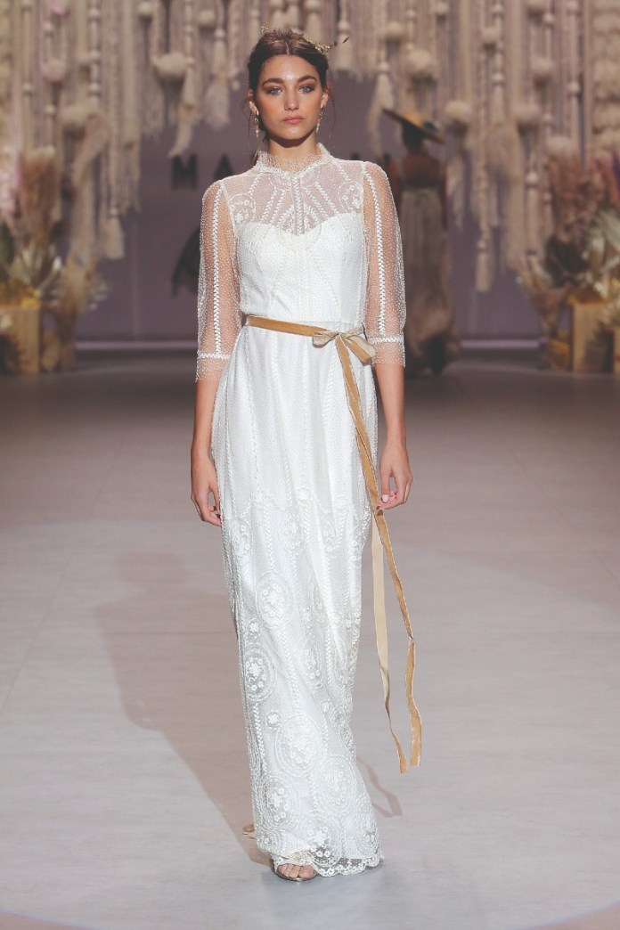 Marylise-Fleur De Lys-three-quarter-sleeve-wedding-dress