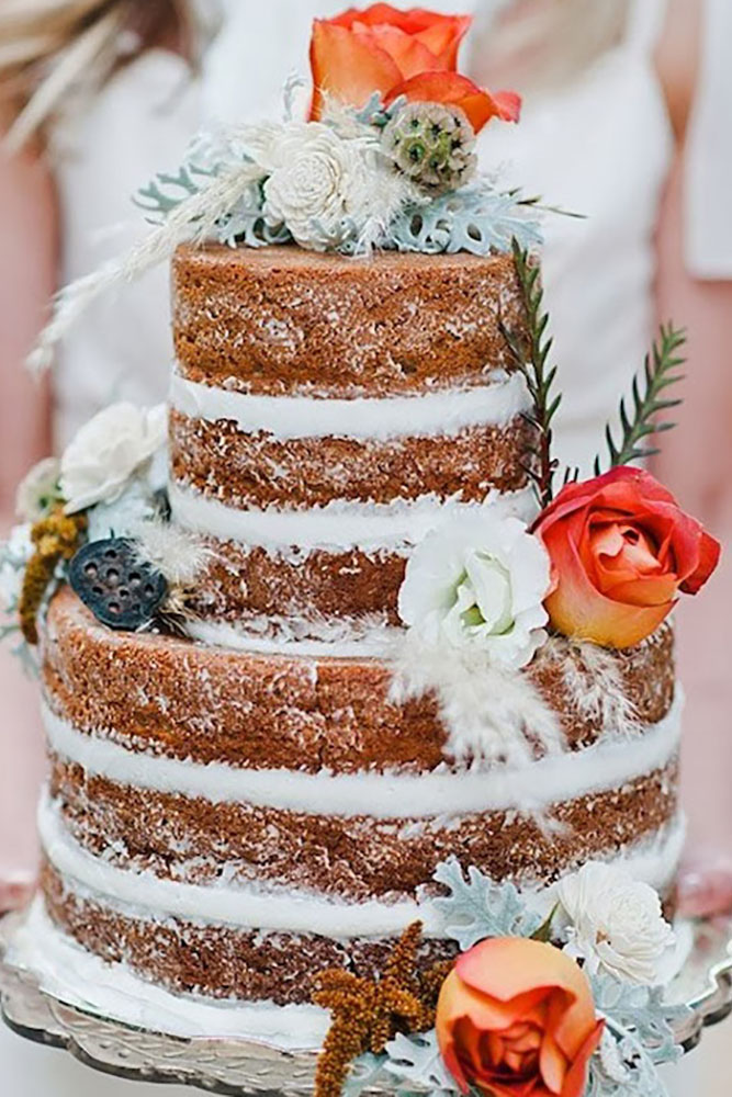 20  Rustic Country Wedding Cakes for The Perfect Fall Wedding naked cake country rustic wedding cakes