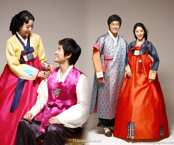Korean wedding couples in traditional costumes called the hanbok
