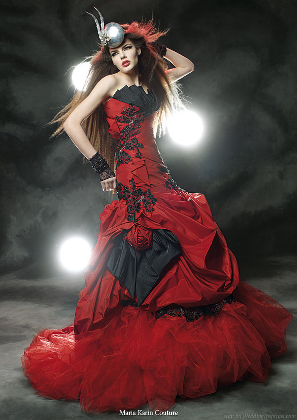 Maria Karin Couture 2011 bridal gown collection - black and red strapless wedding dress with pickup skirt