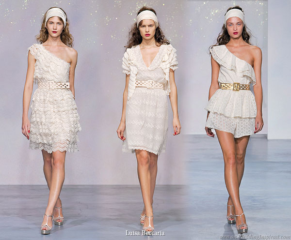 Short lace white or ivory dresses worn with belt - Ivory tutina cotton eyelet one shoulder dress, Ivory embroided tulle dress worn with cotton bolero with volants, Ivory tiered lace one shoulder dress