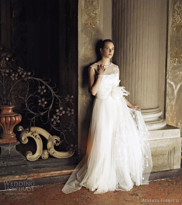 alberta ferretti bridal 2013 sleeveless illusion wedding dress