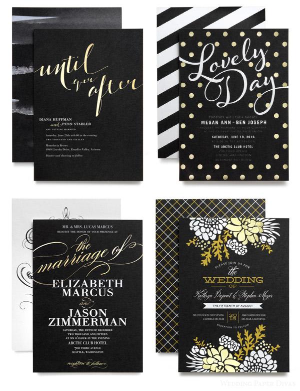 Black Gold Lasercut Invitation
