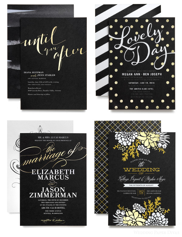 Wedding Paper Divas Foil Sted Invitation Cards Black White Gold Typography