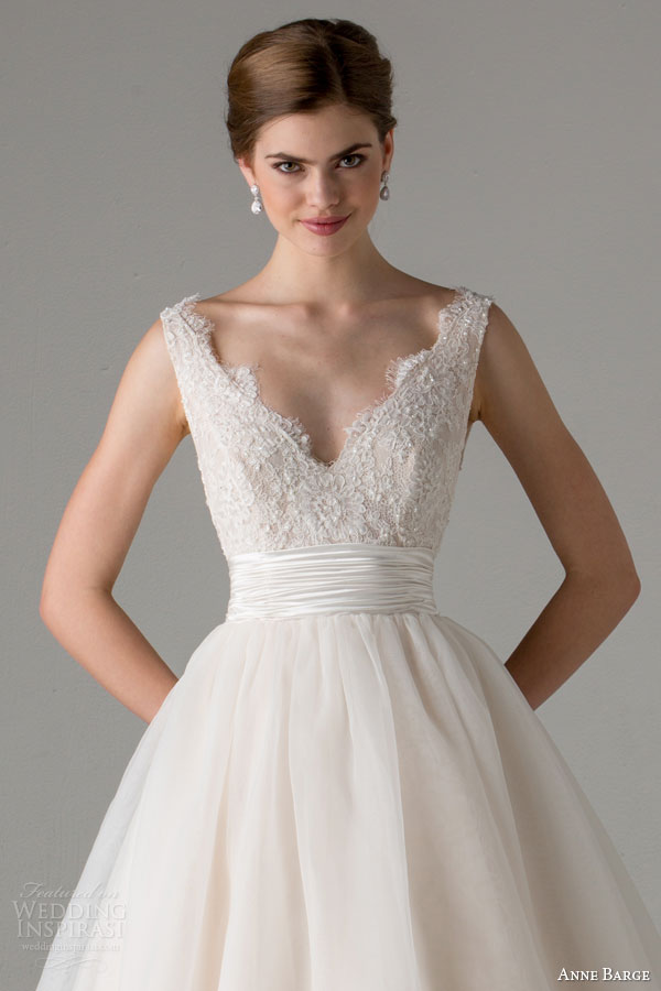 anne barge bridal fall 2015 leah sleeveless ball gown wedding dress blush scalloped v neckline straps close up