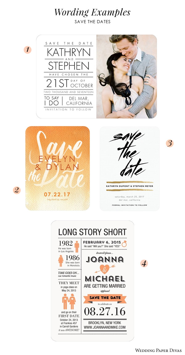 Save The Date Cards Wedding Invitation Wording Examples Paper Divas