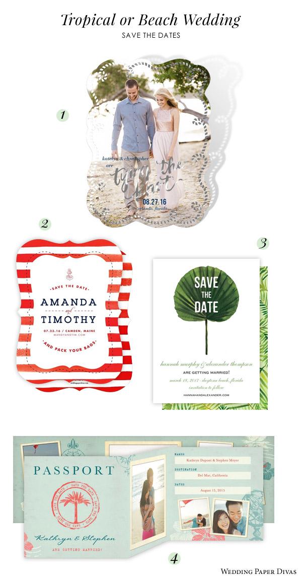 Wedding Paper Divas Beach Tropical Destination Save The Date Invitation Cards