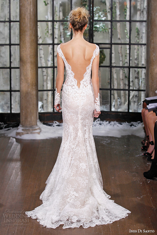ines di santo fall winter 2015 couture wedding dress cap sleeves lace deep plunging neckline low v cut back mermaid bridal gown madrid