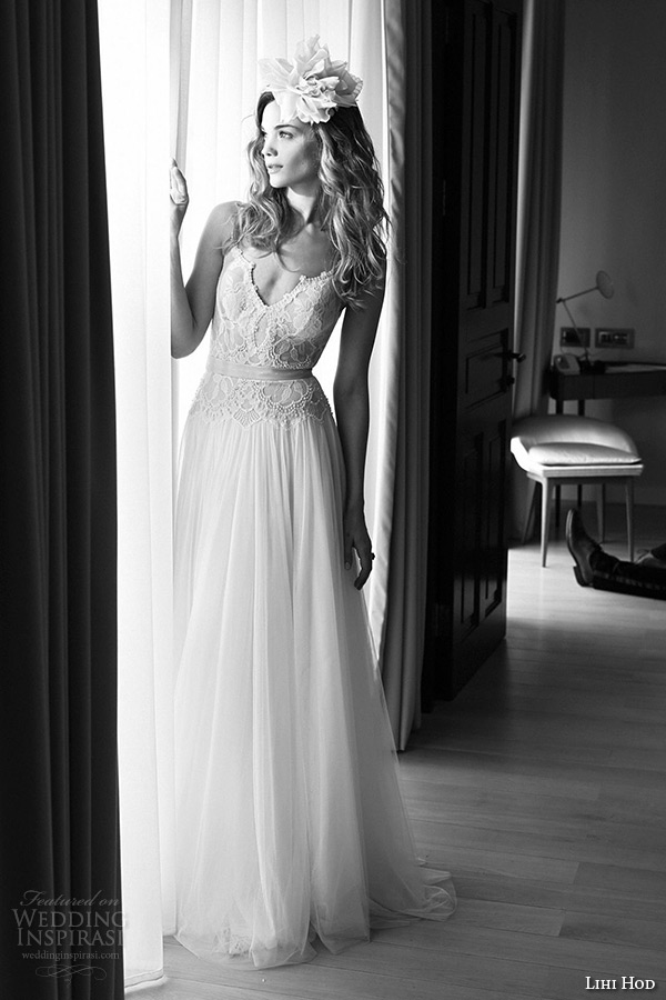 lihi hod wedding dresses 2015 bridal gown spagetti strap v neckline lace bodice tullet a line skirt full length dress style midnight ballerina