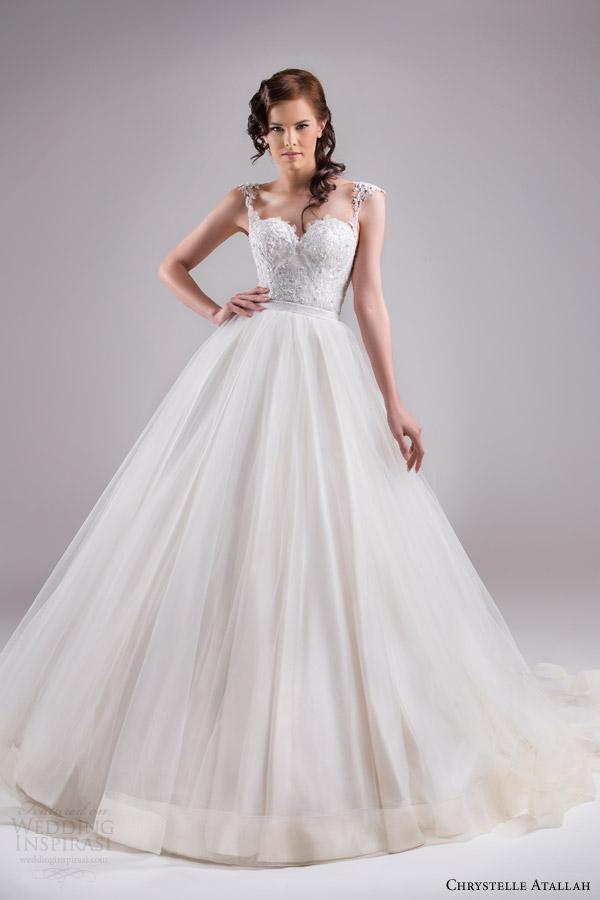 chrystelle atallah bridal spring 2015 sleeveless ball gown wedding dress cap sleeve lace straps horsehair edge skirt