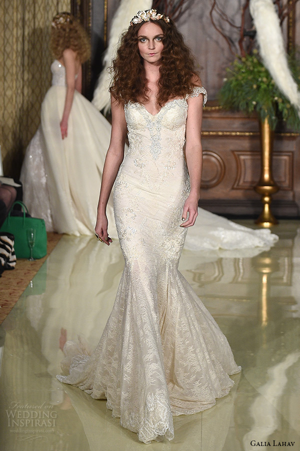 galia lahav wedding dress spring 2016 runway beaded cap sleeves sweetheart neckline beaded embroidered bodice blush mermaid bridal gown