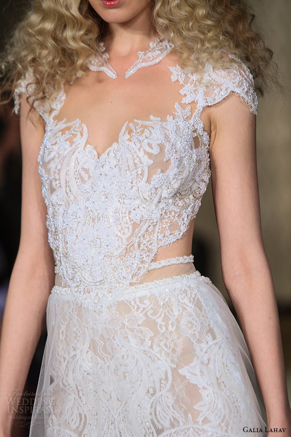 galia lahav wedding dress spring 2019 runway cap sleeves lace illusion neckline beaded bodice tiered tulle bridal gown zoom