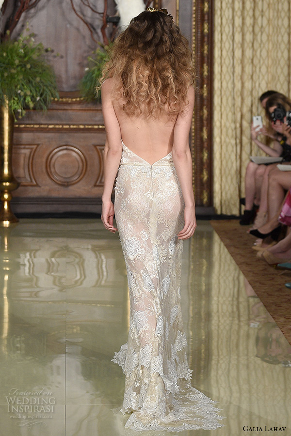 galia lahav wedding dress spring 2016 runway halter neck embroidery dress belt blush sheath bridal gown back