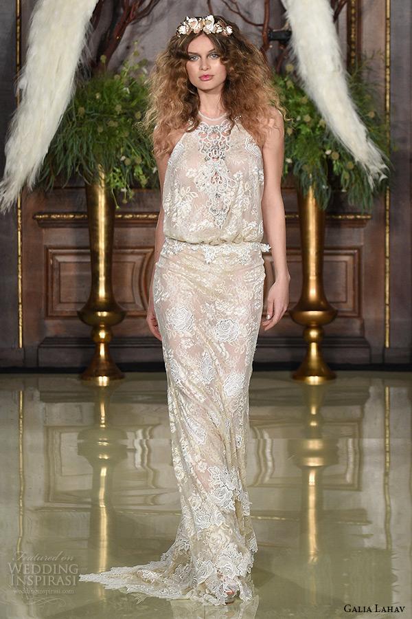 galia lahav wedding dress spring 2016 runway halter neck embroidery dress belt blush sheath bridal gown