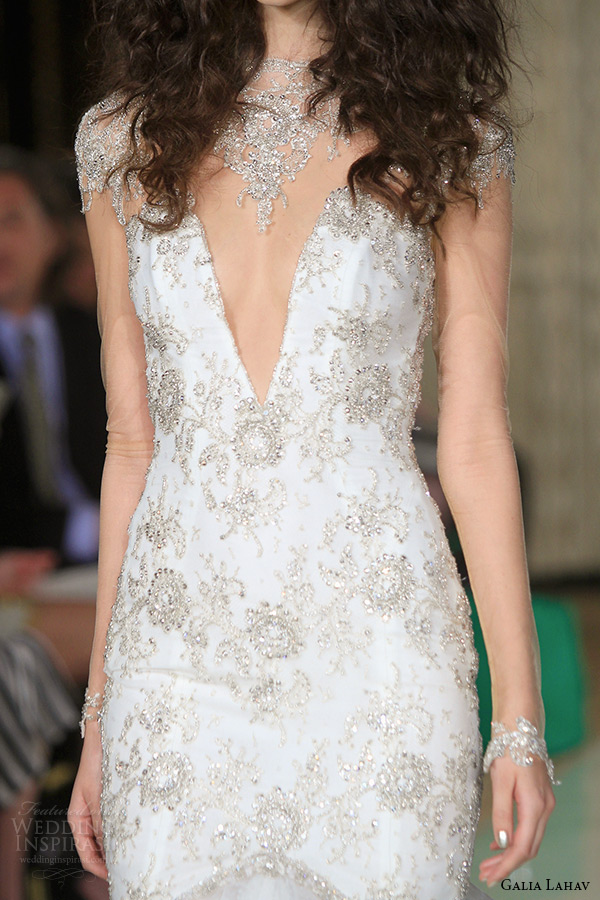 galia lahav wedding dress spring 2016 runway illusion long sleeves beaded cap sleeves plunging v neckline beaded bodice mermaid bridal gown tulle skirt zoom
