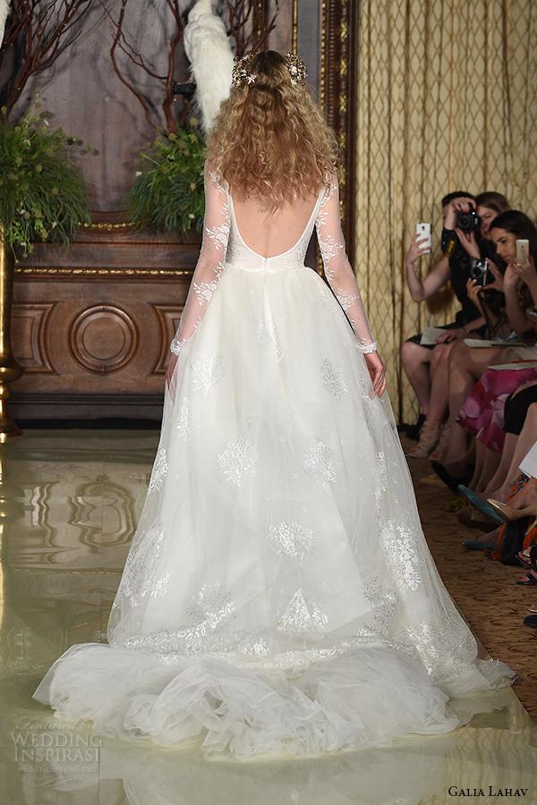 galia lahav wedding dress spring 2016 runway illusion long sleeves sheer deep v neckline ball gown bridal tulle lace skirt back