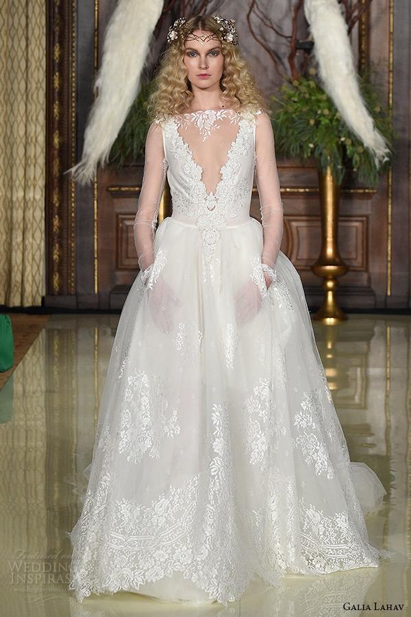 galia lahav wedding dress spring 2016 runway illusion long sleeves sheer deep v neckline ball gown bridal tulle lace skirt