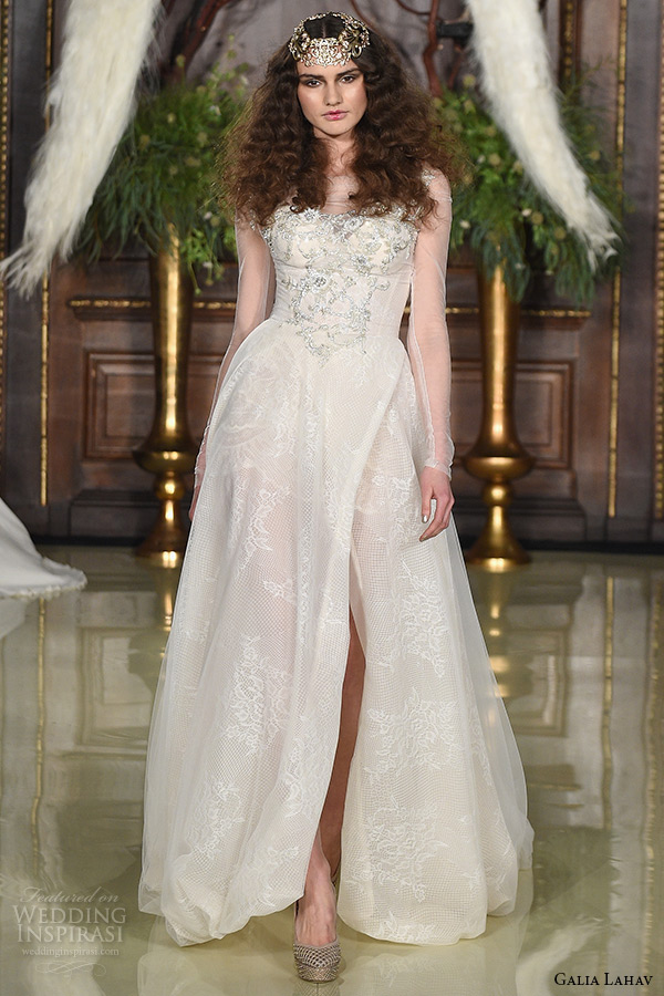 galia lahav wedding dress spring 2016 runway sheer long sleeves embroidered bodice blush ball gown bridal netting skirt