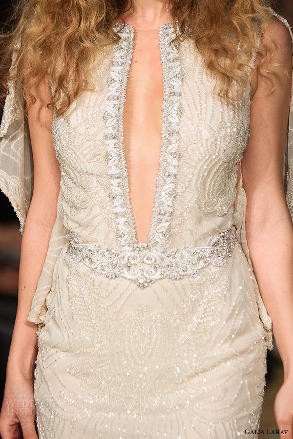 galia lahav wedding dress spring 2016 runway sleeveless deep plunging neckline low back beaded blush sheath bridal gown zoom