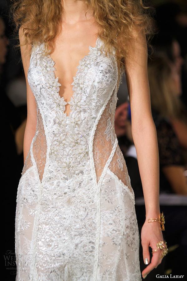 galia lahav wedding dress spring 2016 runway sleeveless deep plunging neckline low back sheer keyhole waist sheath bridal gown zoom