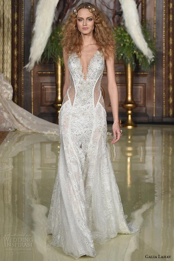 galia lahav wedding dress spring 2016 runway sleeveless deep plunging neckline low back sheer keyhole waist sheath bridal gown