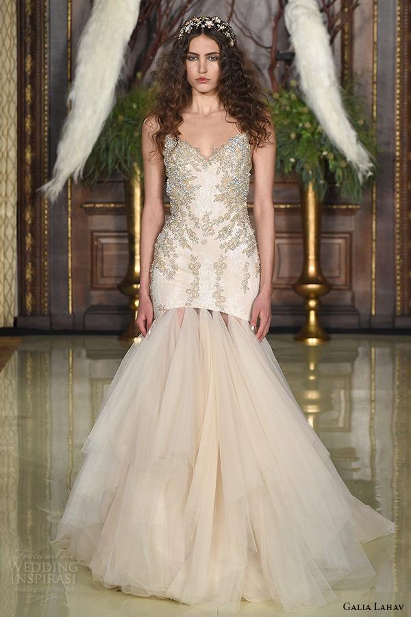 galia lahav wedding dress spring 2016 runway sleeveless v neckline beaded bodice drop waist blush trumpet bridal gown