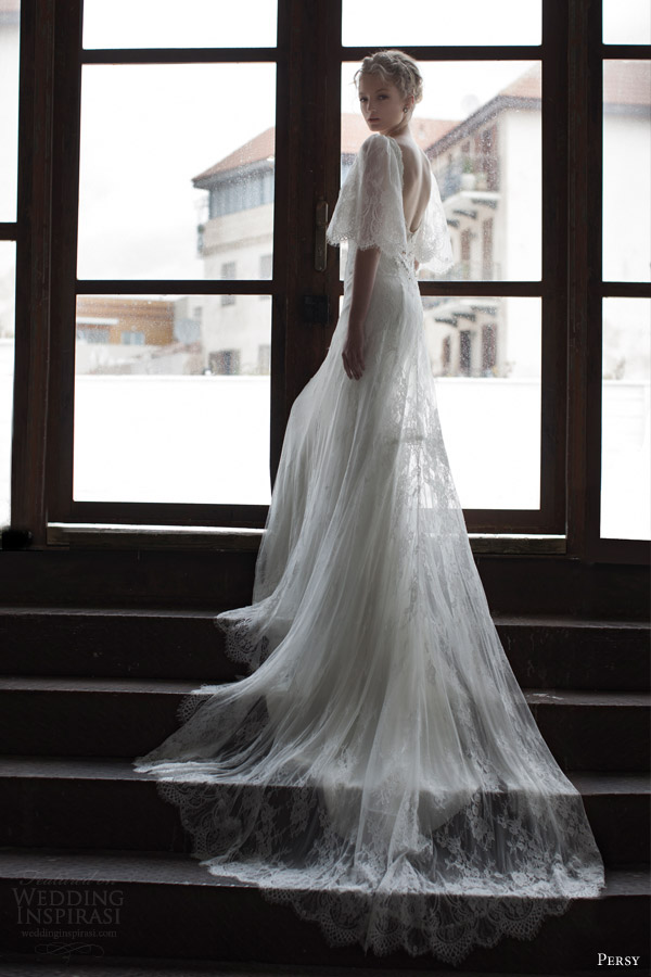 persy bridal spring 2016 half scalloped sleeves open back romantic lace wedding dress