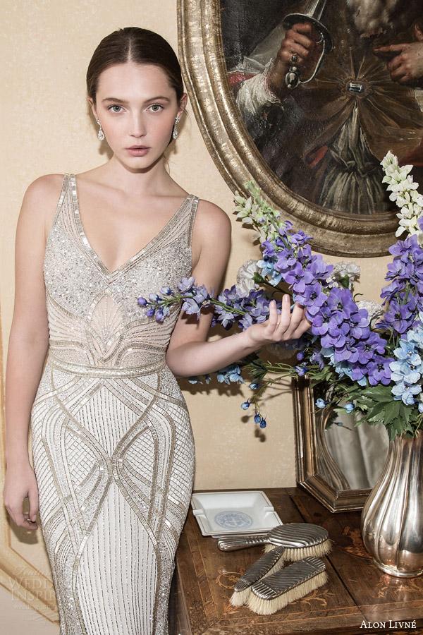 alon livne white 2015 bridal brook sleeveless sheath wedding dress art deco motif beading straps v neckline